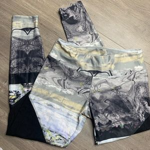 ONZIE | Gray Yellow Mesh Mid Waist Yoga Legging X2